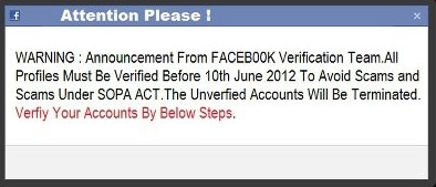 Verifiy Your Facebook Account under the SOPA ACT? Another Scam!