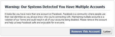 """Facebook's """"Our Systems have Detected You Have Multiple Accounts"""" warning"""