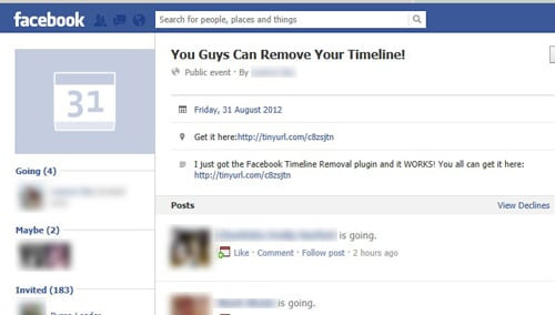 Facebook Users Hit with Timeline Removal Event Spam
