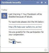 Facebook Security Phishing Scam