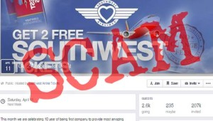 Free Southwest Airline tickets Facebook scam