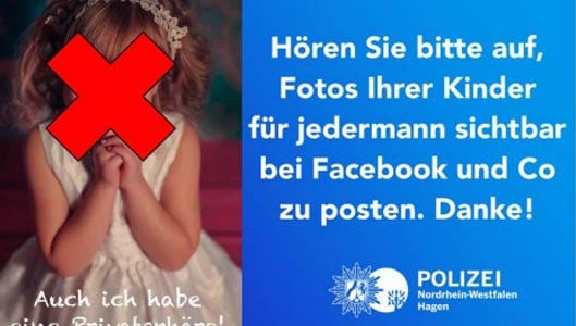 German police ask parents to stop posting photos of their kids online.