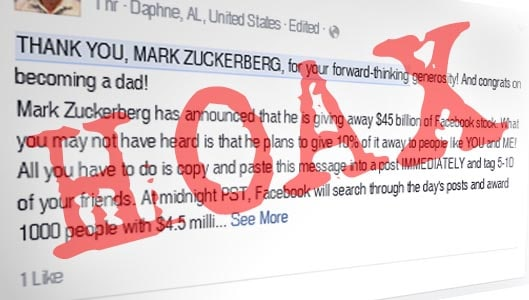 Is Mark Zuckerberg giving $4.5 million for copying a message?