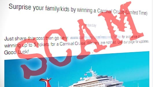 Win up to 5 tickets for a carnival cruise? Facebook scam