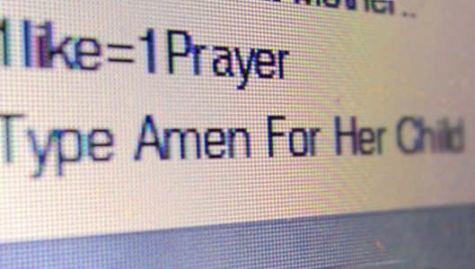 "Why do Facebook posts ask me to share and type ""amen""?"