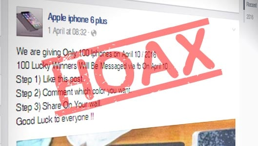 iPhone 6 Plus giveaway spam posts spread on Facebook