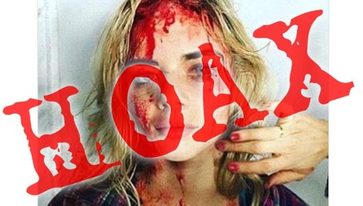 Does this photo show a bloodied female Trump supporter?