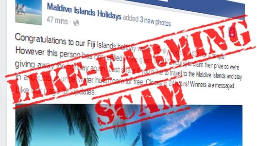 Free trip to Fiji for liking a Facebook post? It's a scam