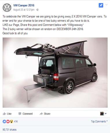 No You Won T Win A 2016 Vw Camper For Sharing A Facebook