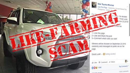 Win a Toyota 4Runner 2016 for sharing a Facebook post? It's a scam