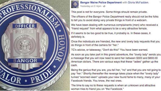 Maine police issue brilliant warning to victims of embarrassing scam
