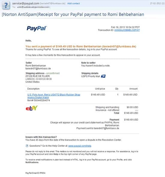 This is what PayPal phishing email scams look like