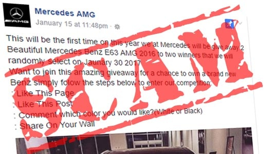 Win a Mercedes AMG for sharing a Facebook post? It's a scam