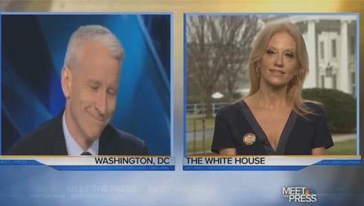 Did Anderson Cooper get the giggles during Kellyanne Conway interview?