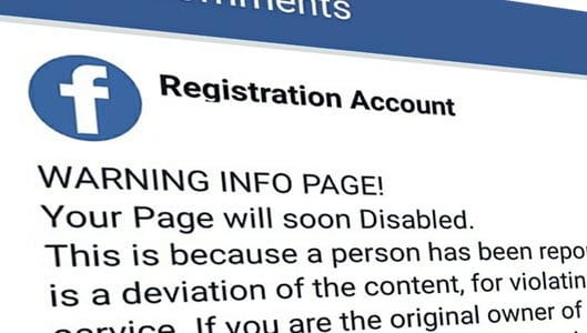 """Your page will soon be disabled"" Facebook scams"