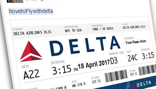 Beware of Facebook links offering Delta Airlines business class tickets