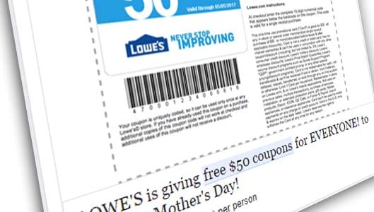Lowe's are NOT giving away $50 coupons to everyone. It's a scam