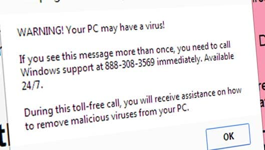 Pop-ups claim computer is infected and ask you to call a number – SCAM