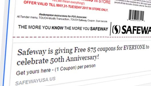 No, Safeway isn't giving $75 coupons away for anniversary