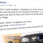 You won't win a 2017 Jeep Wrangler for sharing a Facebook post