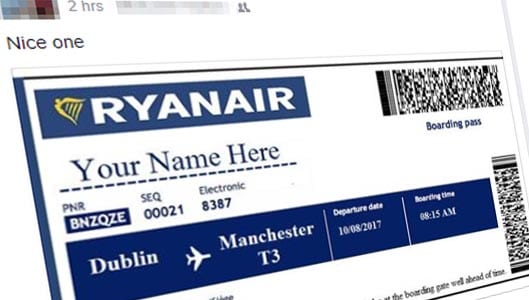 "WestJet or RyanAir ""gifting"" 2 free tickets to everyone? No, it's another scam"