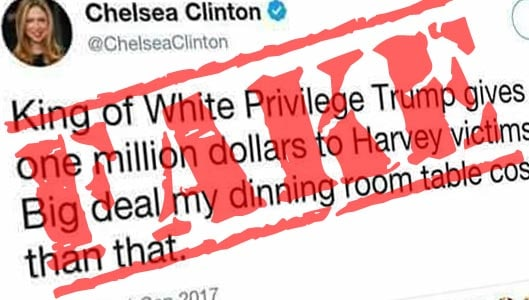 """Chelsea Clinton """"dining room table"""" tweet is completely fake"""