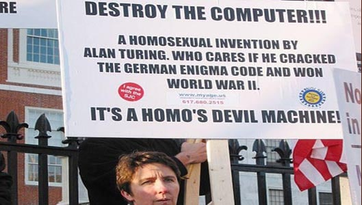 "Is the ""destroy the computer"" homo devil machine placard real? Fact Check"