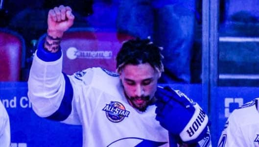 Was a hockey player fired for raising fist during national anthem? Fact Check