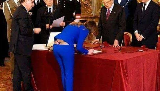 Melania Trump thong visible during ceremony? Fake picture