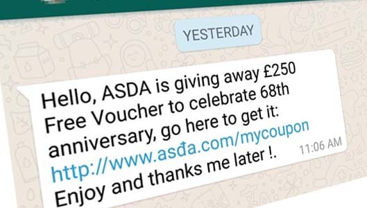 Beware of scams spreading on WhatsApp offering gift cards