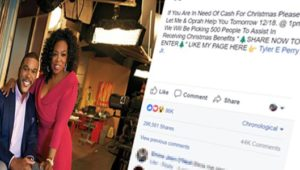 Facebook posts claim Tyler Perry & Oprah Winfrey handing out cash – like farming scam