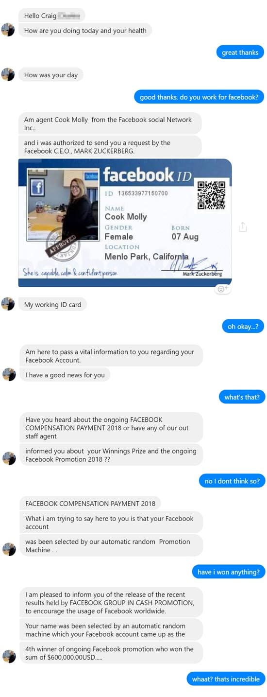 A Facebook lottery scammer contacted us