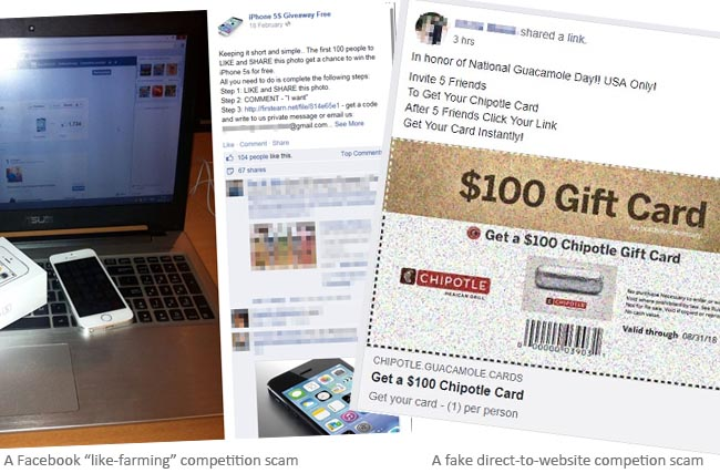 Facebook free giveaways fake