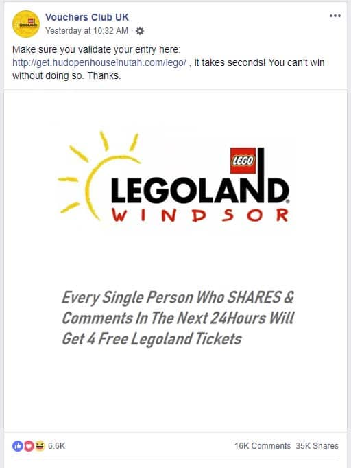 Fake posts on Facebook claim to offer free Legoland tickets