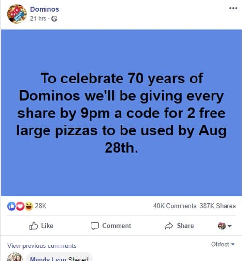 Is Domino's giving away free pizza codes for sharing a post